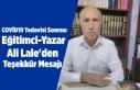 Taburcu olan Eğitimci-Yazar Ali Lale'den teşekkür...