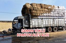 Saman yüklü kamyon alev aldı