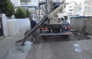 Siverek'te Cadde ve Sokaklarda Beton Çalışmaları...