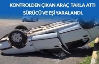 Otomobil takla attı! Sürücü ve eşi yaralandı