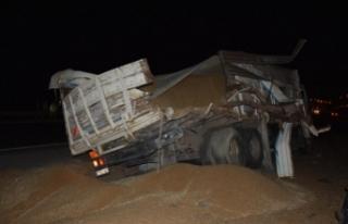 Siverek'te Buğday yüklü kamyon ile tır çarpıştı;...