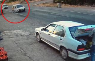Şoförün dikkati sayesinde yola fırlayan çocuk...