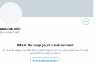 Twitter Abdullah Erin'in hesabını bir kez daha sınırlandırdı